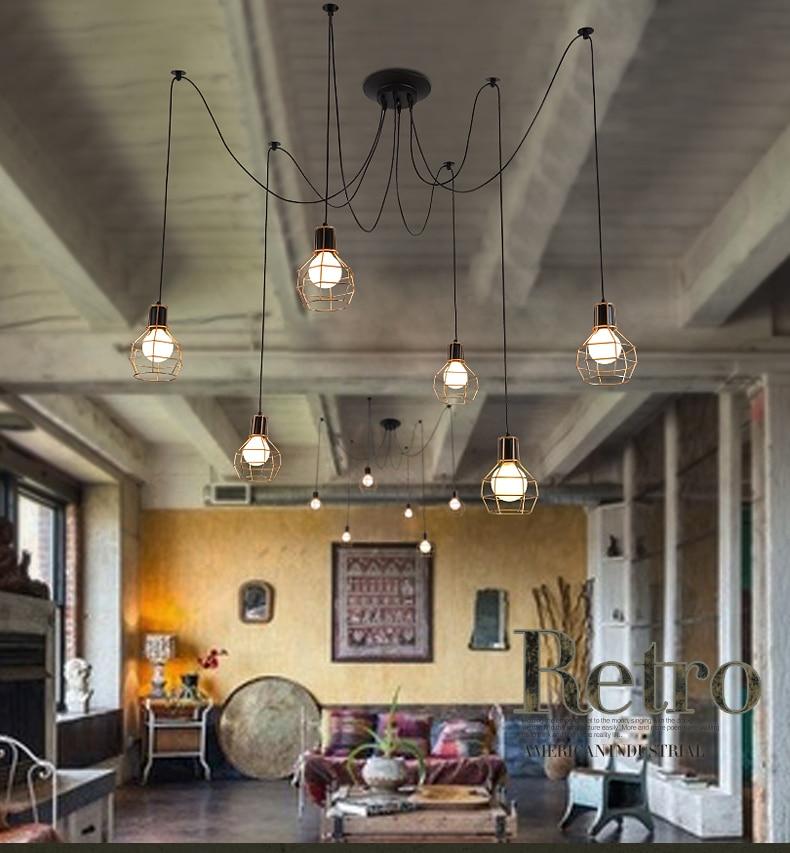 Pequeña jaula Luces colgantes personalidad Vintage Loft industrial - Iluminación interior - foto 4