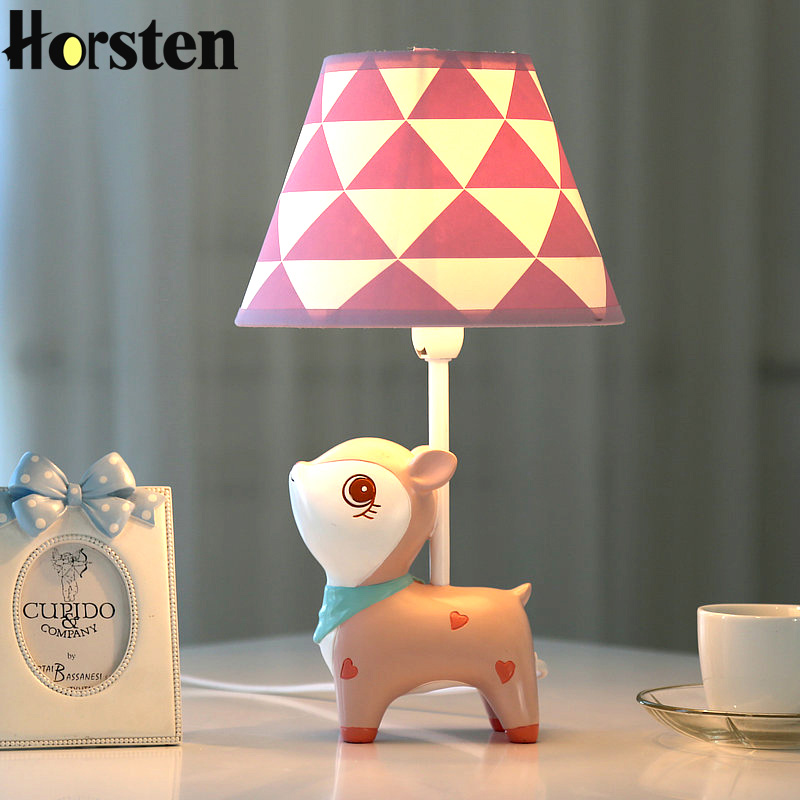 Creative Cute Deer LED Table Lamp Home Decoration Mini Desk Table Light Bedroom Bedside Lamp For Baby Kids Room Birthday Gift creative cute green cartom car led night light for children baby kids white warm white bedside lamp resin night lamp gift