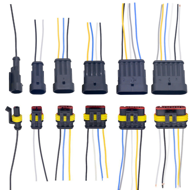 1 2 3 4 5 6 Way 1P 2P 3P 4P 5P 1.5 Kit Auto Connector Male & Female Waterproof Electrical Plug with 14AWG Cable Wire Harness 1
