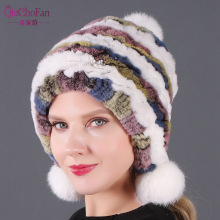 2019 Women Real Genuine Rex Rabbit Fur Hat Beanies Cap With Balls Lady Warm Knitted Caps