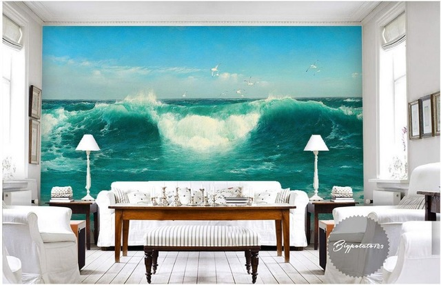 3d wallpaper nature waves seascape painting tv background wallpaper 3d mural wallpaper home decoration