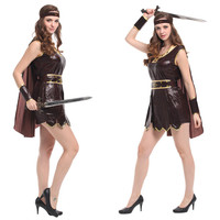 Sexy Women Halloween Female Gladiator Costumes warrior Cosplay Athena Role play Carnival Christmas Masquerade stage show dress