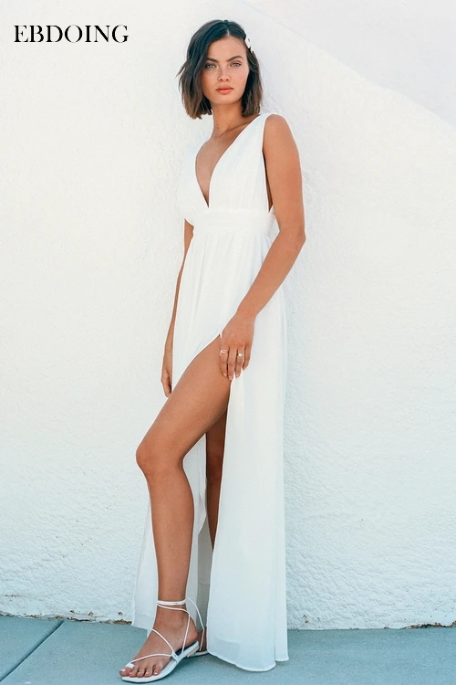Ebdo Robe de soirée élégante Robe de soirée col en v longue Robe Fromal couleur blanche grande taille robes de soirée