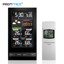 PROTMEX PT2810 Weather Station Temperature Humidity Wireless Colorful LCD Display With Barometer Weather Forecast