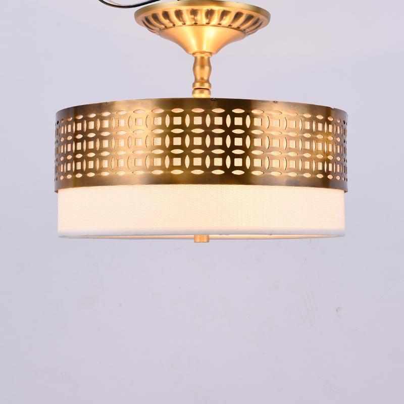 Moderne Kupfer Schlafzimmer Wohnzimmer Deckenleuchten Hause Beleuchtung Weiss Stoff Lampenschirm Lampe H65 Messing Geschenk E27 Led