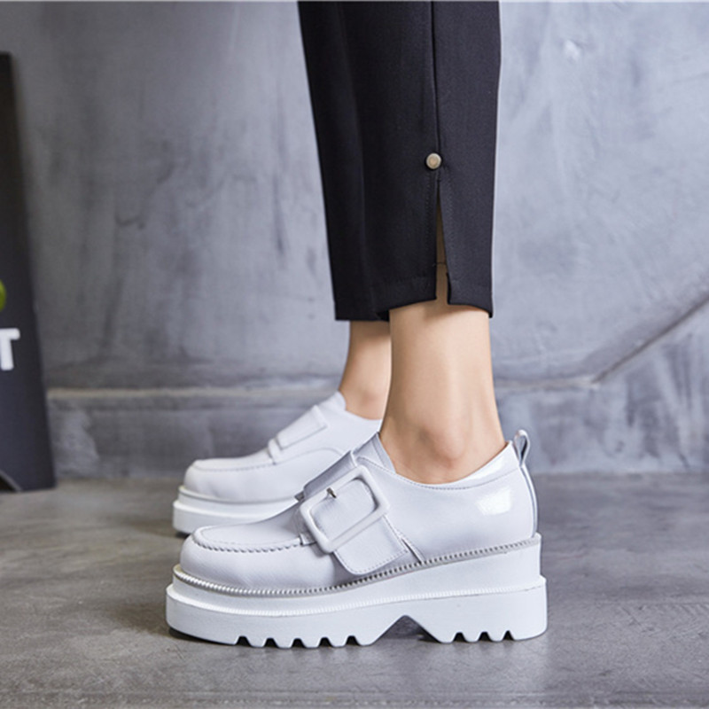 Women s Pumps Genuine Leather Shoes Woman 2019 Spring Autumn Fashion Buckle White black Shoes High