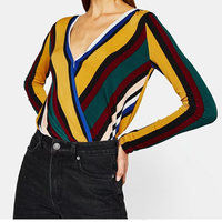 2018 Summer New Arrival 2 Styles Hot Sale Yellow Striped V Neck Shirt Female Halter Tops