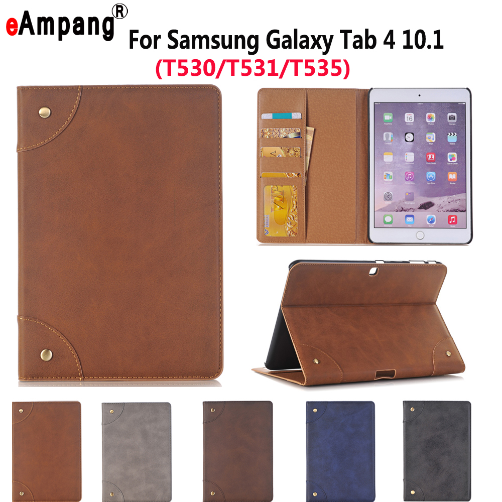 Leather Case For Samsung Galaxy Tab4 Tab 4 10.1 SM T530 T535 Luxury Business Slim Smart Sleep Stand Flip Card Slot Tablet Shell luxury panda cartoon tablet pu leather flip stand tablet book case for samsung galaxy tab 4 tab4 7 0 t230 t231 t235 cover