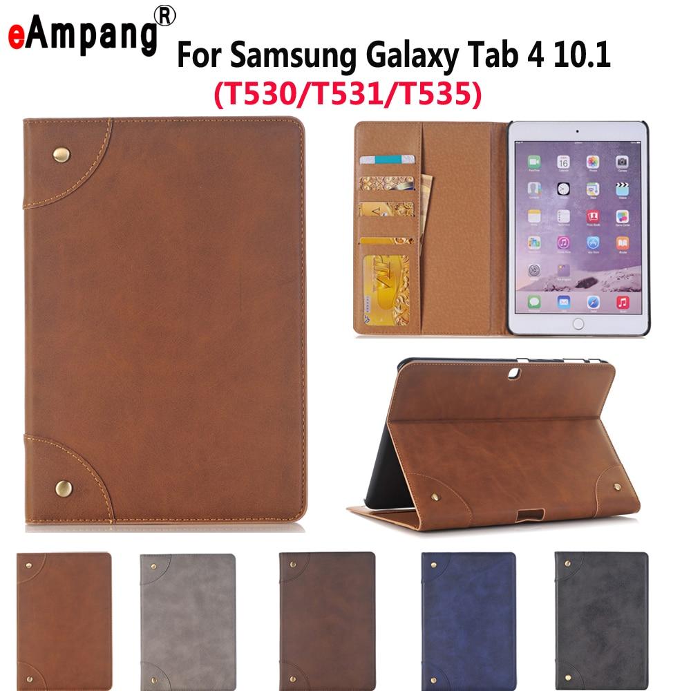 Leather Case For Samsung Galaxy Tab4 Tab 4 10.1 SM T530 T535 Luxury Business Slim Smart Sleep Stand Flip Card Slot Tablet Shell keymao luxury flip leather case for samsung galaxy s7 edge