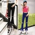 2017 spring and summer high-elastic jeans hole fringed vintage denim bell-bottoms AL776