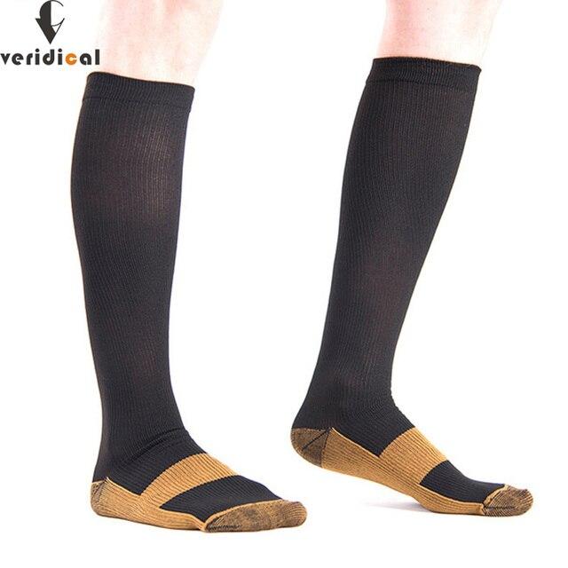 Calcetines graduados de compresión 20 30 mmHg presión firme circulación calidad hasta la rodilla soporte ortopédico medias calcetín de manguera