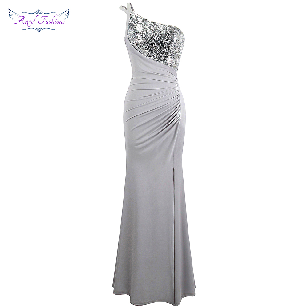 Angel fashions One Shoulder Pleated Sequin Slit Long Prom Dresses Gray 399