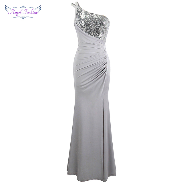Angel-fashions One Shoulder Pleated Sequin Slit Long Prom Dresses Gray 399 2b8a2e4c0