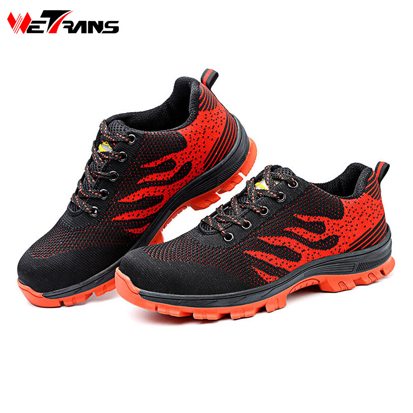 Construction Work Safety Shoes Anti-smashing Breathable Safety Shoes Steel Toe Non-slip Tactics Electric Handling Welding Unisex man safety steel toe shoes cover blue factory visitors protective overshoes non slip anti smashing industrial safety footwear