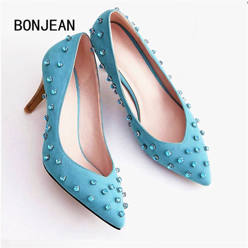 2017 Women High Heels Casual Wedding Pointed Toe Party Fashion Sexy Slim Pump Thin Heels Rhinestones Blue Sapato Feminino 7cm цены онлайн