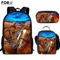 FORUDESIGNS/детские школьные сумки для девочек  рюкзак для детей с крутым принтом лошади  школьный комплект  рюкзак для начальной школы  Mochilas