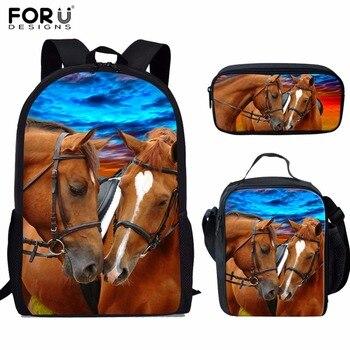 FORUDESIGNS/детские школьные сумки для девочек, рюкзак для детей с крутым принтом лошади, школьный комплект, рюкзак для начальной школы, Mochilas