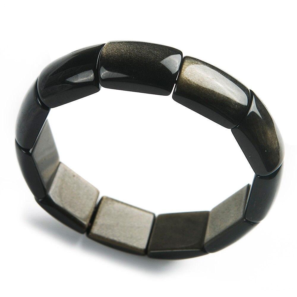 Top qualité or naturel obsidienne Rectangle perles femme homme Flash pierre Bracelets bracelet 18x9mm AAAAA livraison directe