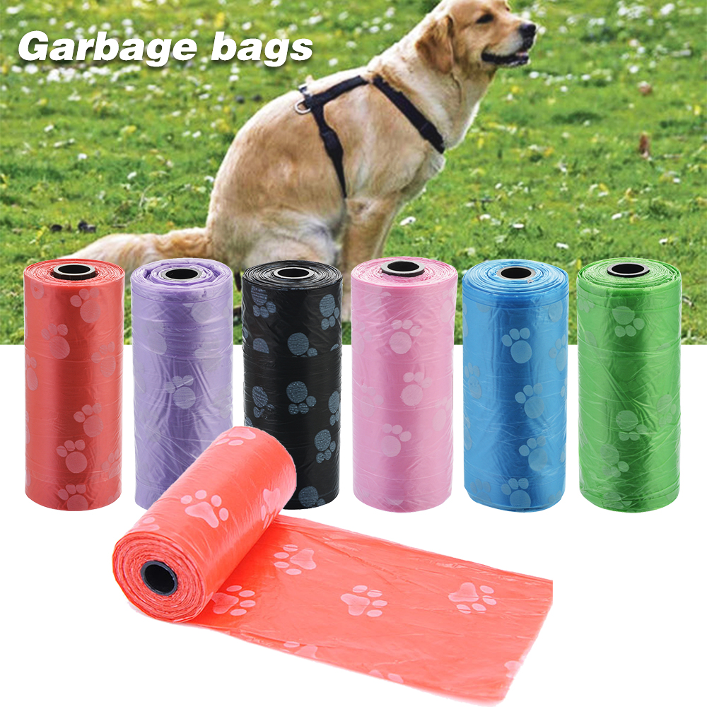 15PCS/1Rolls Pet Supply Paw Printing Cat Dog Poop Waste Bags Outdoor Home Clean Refill Degradable Garbage Bag Organizer