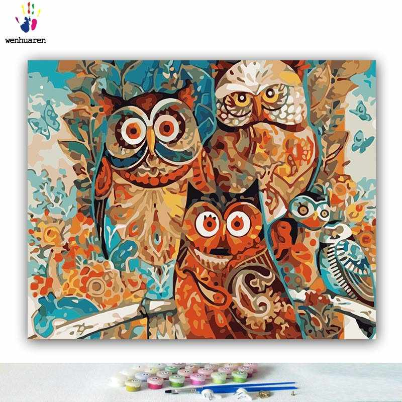 DIY Coloring paint by numbers Owl family of five pictures Abstract figure paintings by numbers with kits 40x50 framed
