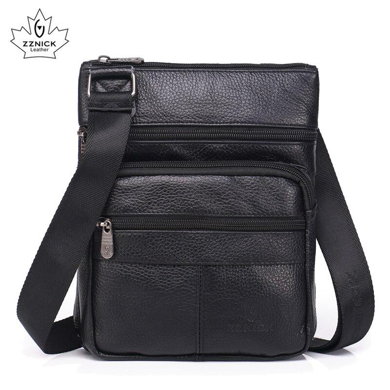 a0e488c1f68 Kopen Goedkoop Echt Lederen tassen heren schoudertassen Mode Handtassen  flap Messenger kleine mannen Lederen tassen mannelijke 2018 nieuwe ZZNICK  Online.