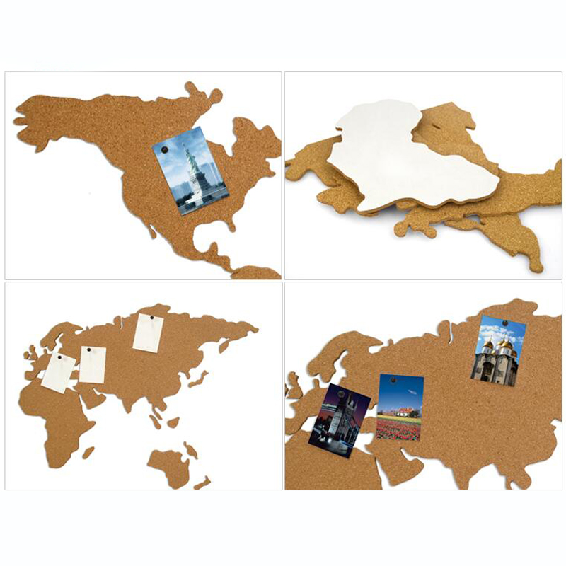 Cork Wood Phellem Wall World Map Office School Home Decoration Map