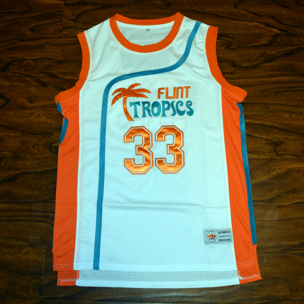 14ed6dec7 MM MASMIG Jackie Moon #33 Flint Tropics Basketball Jersey Stitched White