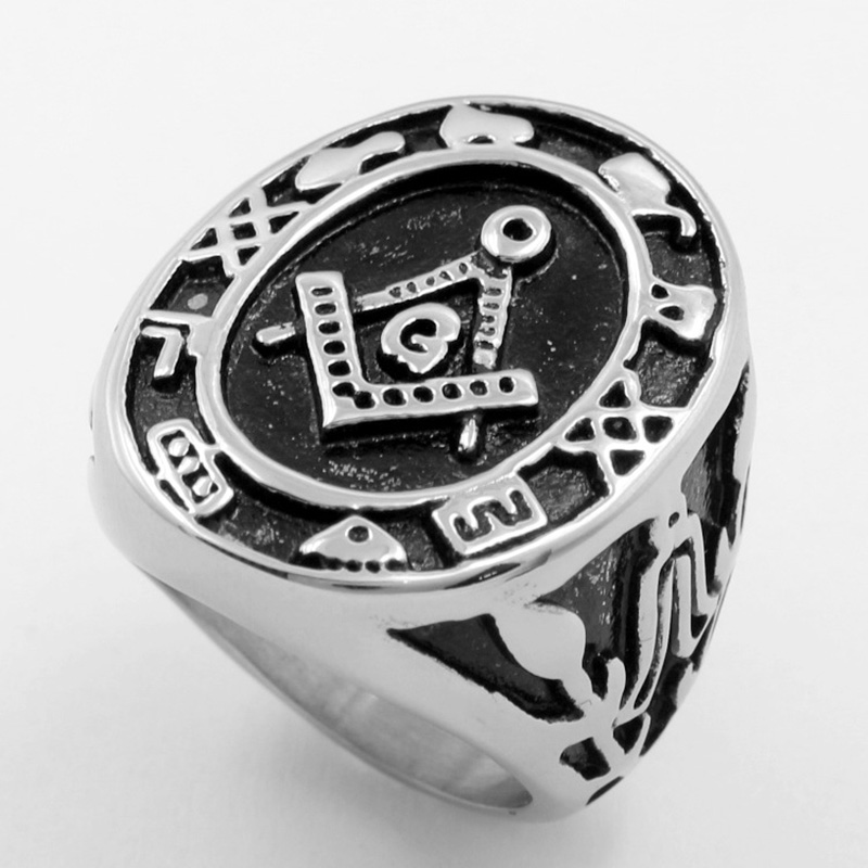 new steampunk ring men masonic rings fashion stainless steel wedding ring for men retro stainless steel - Steampunk Wedding Rings