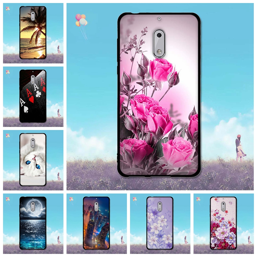 Case for <font><b>Nokia</b></font> <font><b>6</b></font> <font><b>Back</b></font> <font><b>Cover</b></font> for Nokia6 5.5 inch Flower Painting Phone for <font><b>Nokia</b></font> <font><b>6</b></font> TA-1021 TA-1033 Soft Silicone Phone Shell image
