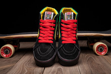 Vans classic sk8 hi slim black green yellow three colors unisex canvas shoes for men and women skateboarding sneakers