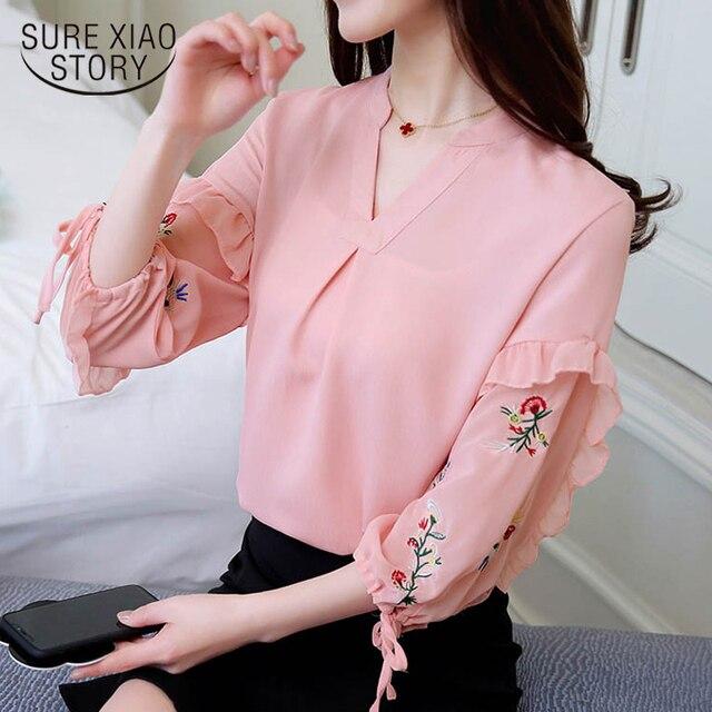 d0cb6c5c 2018 new spring Korean women fashion long sleeved blouses spliced women  clothing lady full sweet style