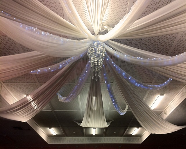 1pcs White Chiffon Ceiling Drapes Table Swag For Weddings Events And