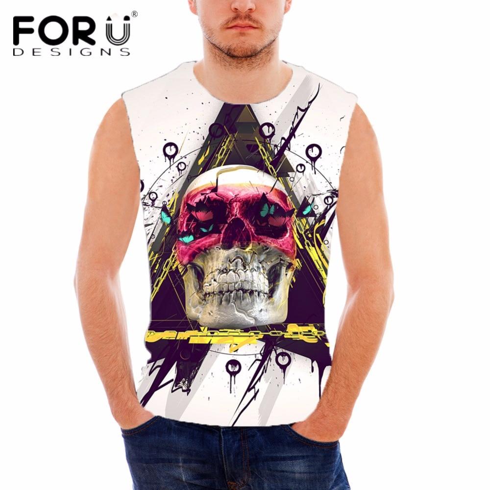 FORUDESIGNS Punk Skulls Designer Cotton Tank Top para hombre de - Ropa de hombre - foto 3