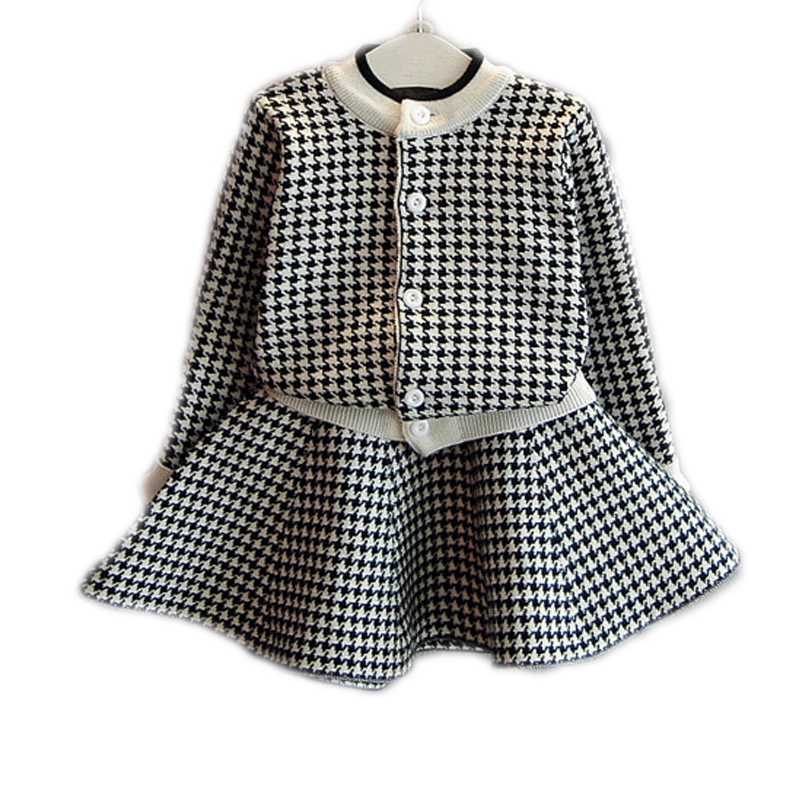2017 New Christmas Outfit Baby Girl Clothing Sets Plaid Single Breasted Children Clothing Set Sweater Cardigan+TuTu Skirt 2-7T