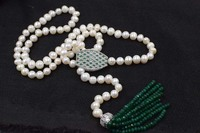 Green Jade Roundel Faceted Freshwater Pearl Round 4 2mm Necklace 30inch FPPJ Wholesale Beads Nature