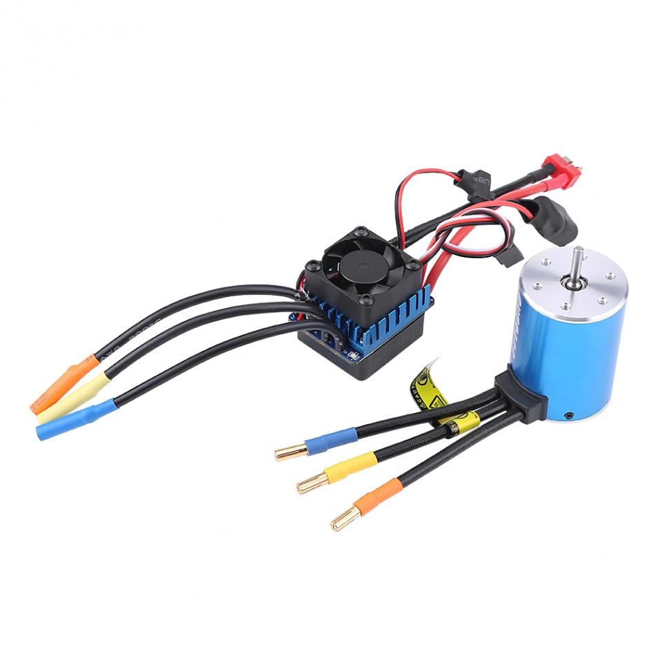 RC Car Motor & Electronic Speed Controller 4 Poles 3650 3900KV Motor + 60A ESC Electronic Speed Controller For 1/10 1/12 RC Car tiger motor t motor 60a 2 6s brushless motor electronic speed controller for multicopter