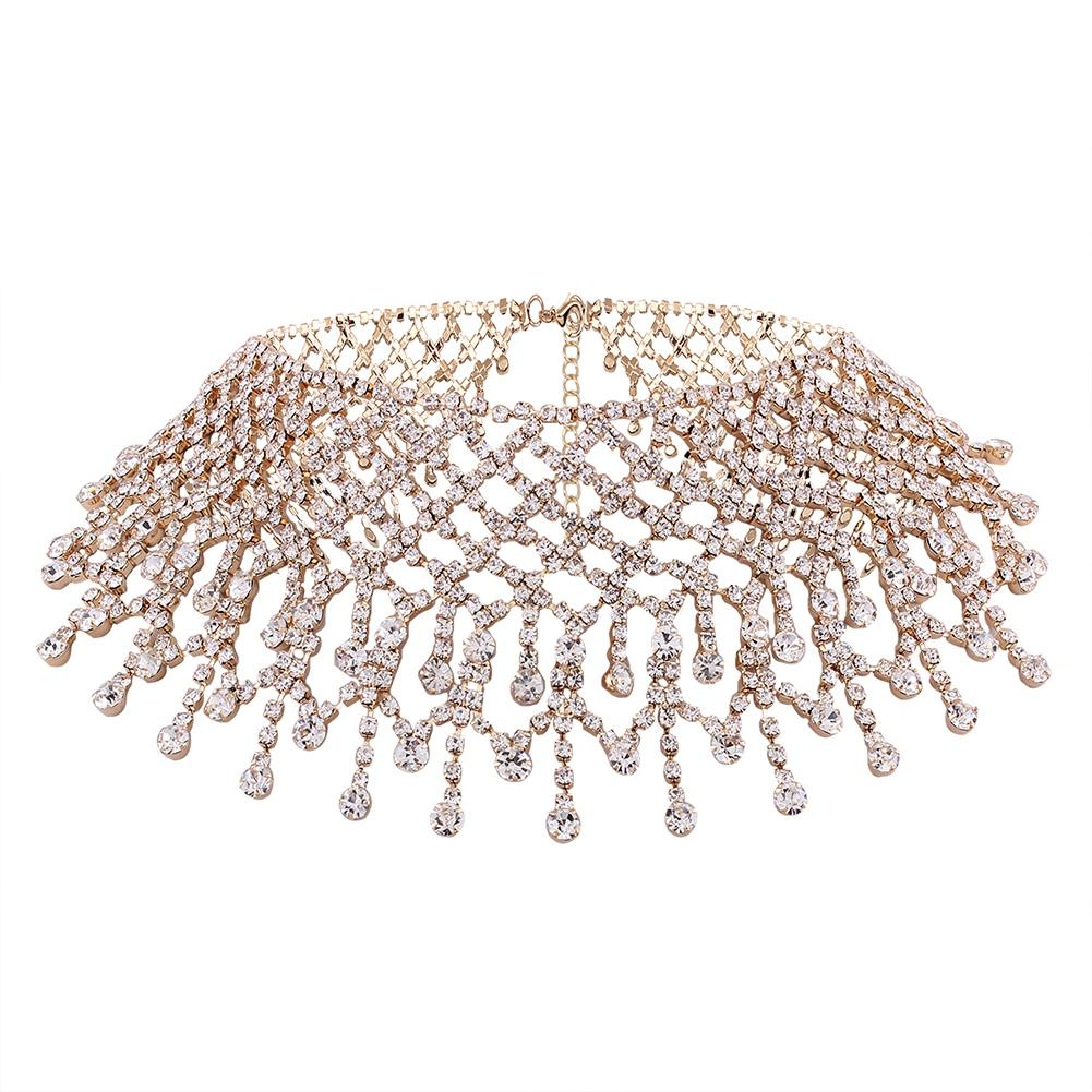 XY Fancy Full Rhinestone Choker Women's Crystal Pendant Necklace Bling Collar Chains