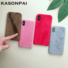820e336a3d5c Fluffy Case for iPhone X XS Max XR Winter Warm Teddy Fur Hairy Fuzzy Plush  Case