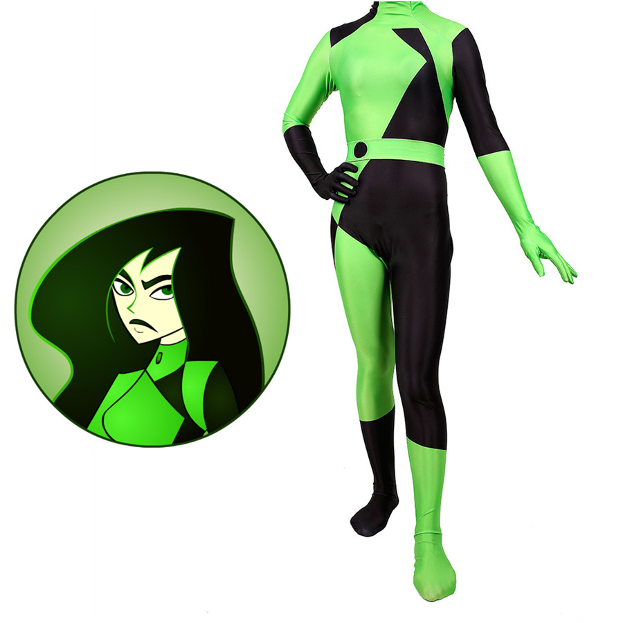 Kim Possible Shego Bodysuit Cosplay Costume Jumpsuits Halloween For Woman Bodysuit Adult Zentai Cosplay Costume