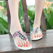 Women's Rhinestone Sandals And Slippers Non-slip Beach Flip-flops Thick Heel Shoes In Summer 2015 Beige Black