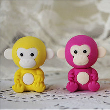 1Pcs Stationery Supplies Kawaii Cartoon Pencil Erasers cute monkey office Correction Kid learning Gifts