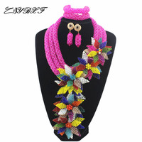 African Wedding Beads Necklace Set Costume Nigerian Beads Hot Pink Crystal Jewelry Set Mix Flower Pendant Free Shipping HD7740
