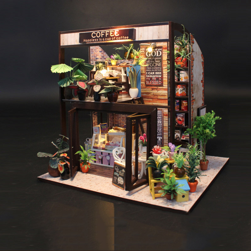 High Simulation Coffee House 3D Wooden Model Building Kits Toys Hobbies Gift for Children Adult Panorama
