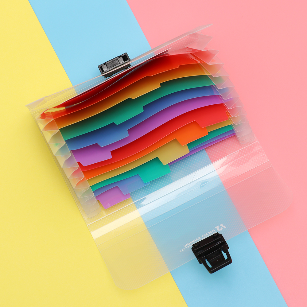 A6 Plastic 13 Pockets Cute Rainbow Color Expanding File Folder  Paper Organizer Document Holder Bag File Case Office Supplies