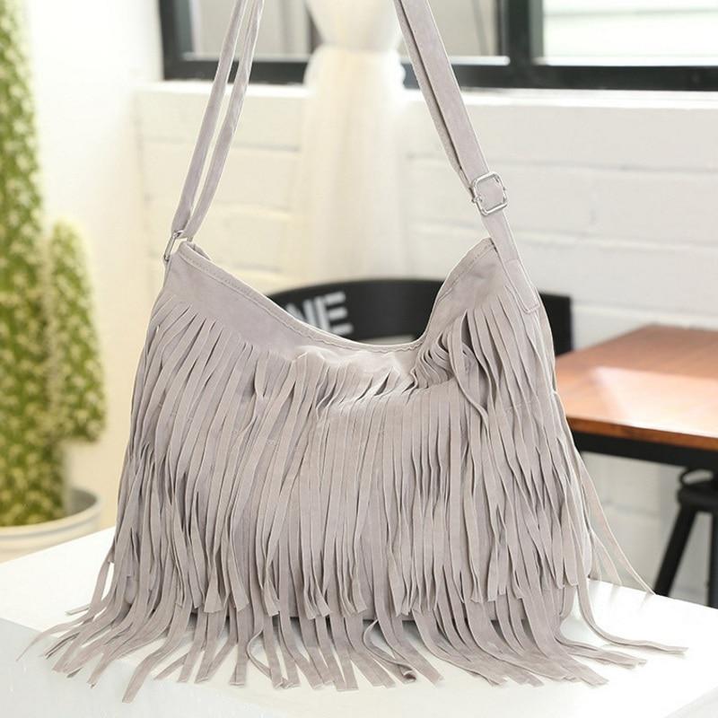 Vintage Women Fringe Suede Handbag Big Tassel Adjustable Shoulder Bags Female Crossbody Messenger Bags Fashion Casual Tote Gray