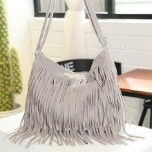 Винтажная Женская Замшевая сумка с бахромой и большой кисточкой, регулируемые сумки на плечо, женские сумки через плечо, модные повседневные сумки-тоут серого цвета