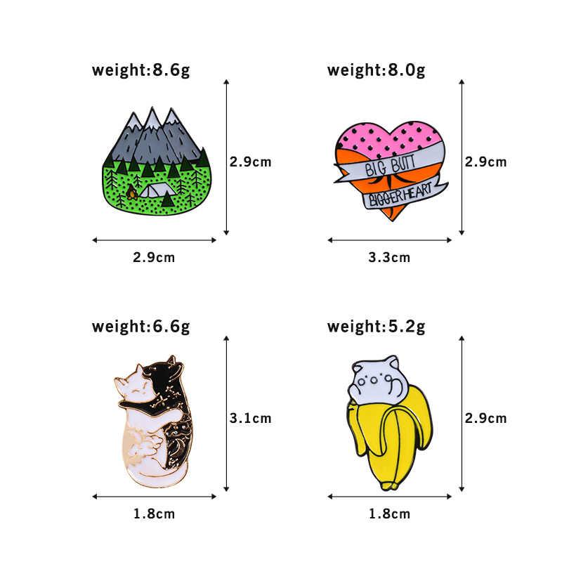 Животное брошка мультфильм Pin горный банан hug с рисунками котят и сердец значок кнопки джинсы нагрудные значки для подарки для лучшего друга