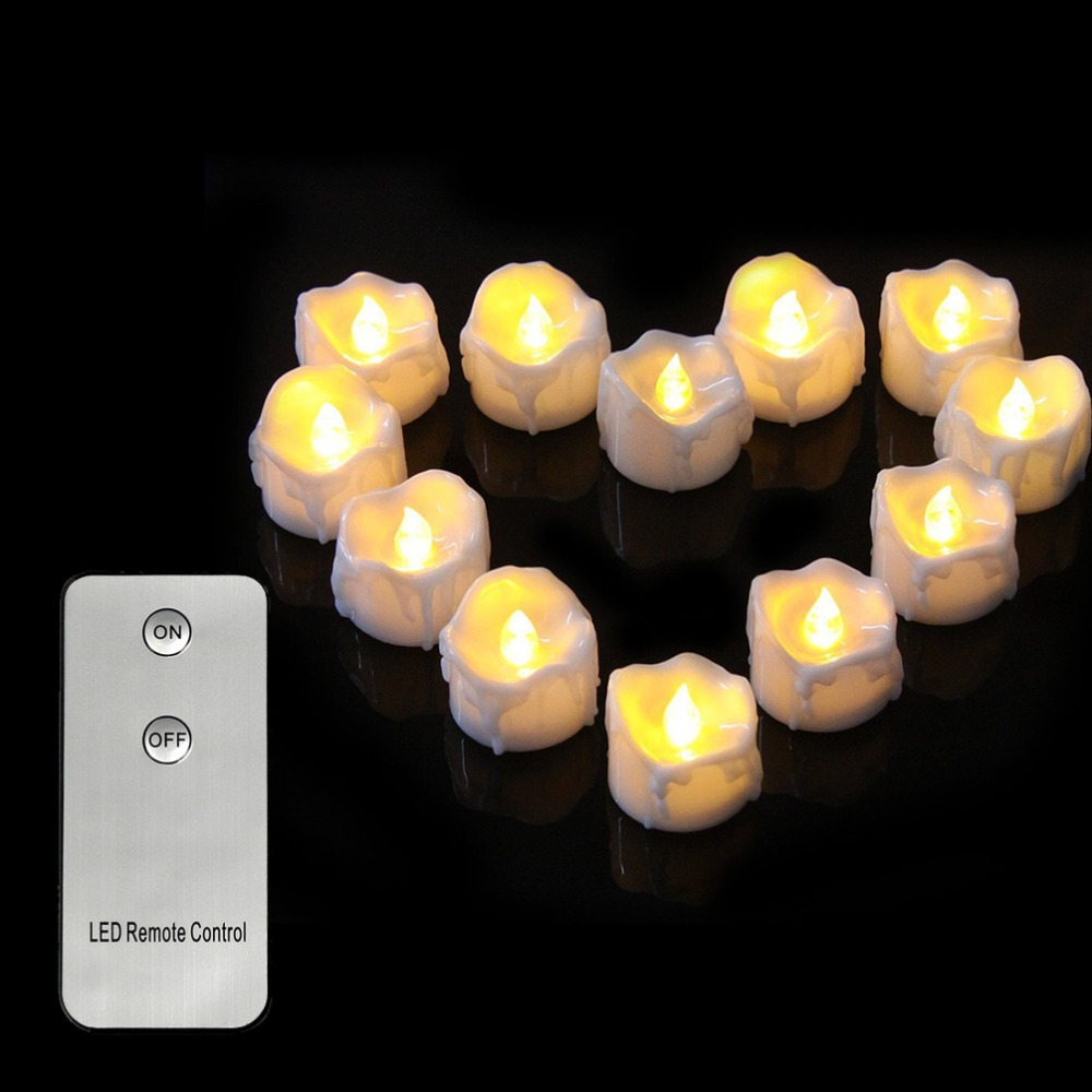 12 pieces Remote Control Electric Tea light Candles,Yelllow Flash <font><b>led</b></font> candle,Battery kaars <font><b>led</b></font> afstansbediening For Wedding image