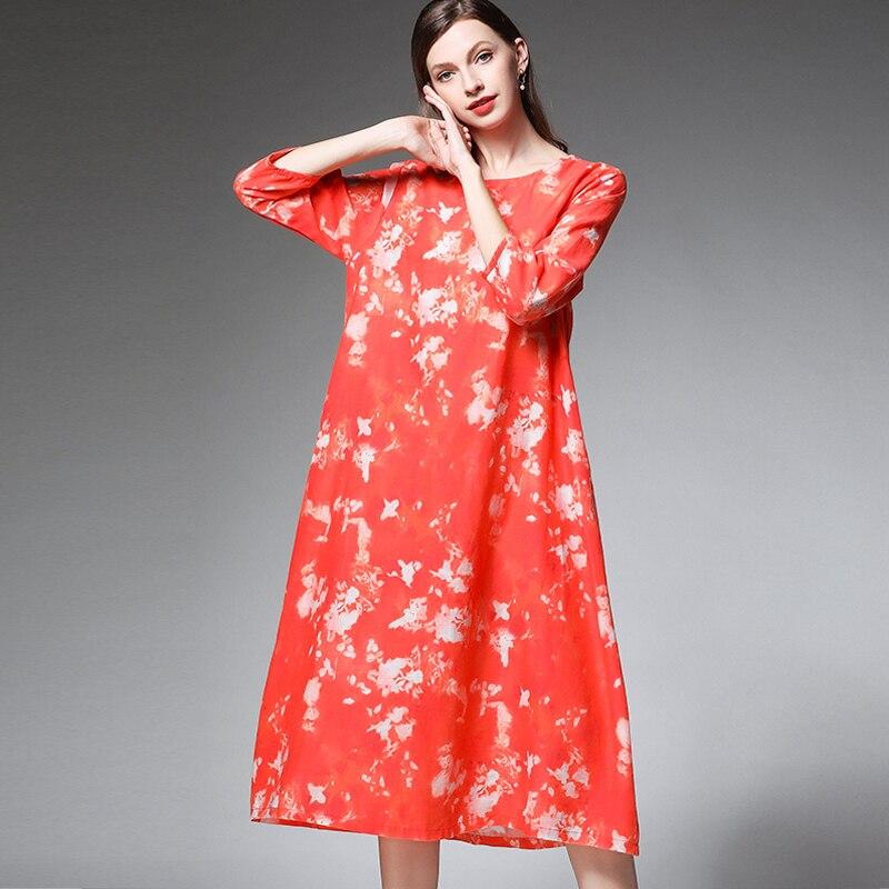ee4ae81fecd Surdimensionnées D été Large Vêtements Femmes Imprimer Robe Manches Lin  Coton Extra Robes Red Demi 2019 ...