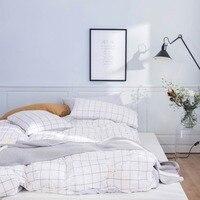 2019 Grey White Plaids Scandinavian Bedding Set Duvet Cover 4pcs Twin Queen King Flat Sheet Wash Cotton Bedlinens Pillowcases